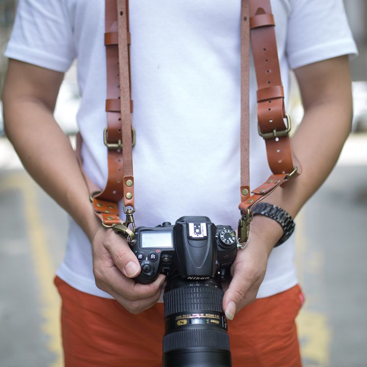厂家定制 单反相机背带 快摄头层牛皮肩带 数码相机快射手肩带