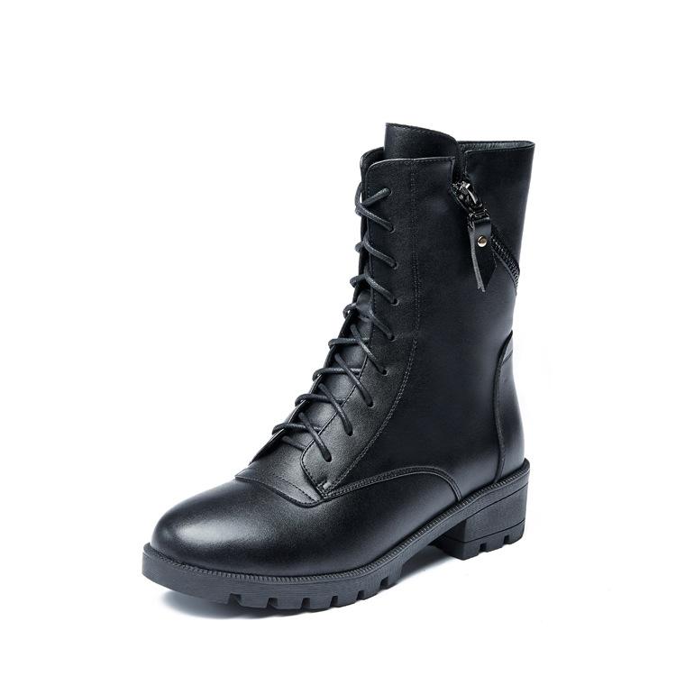 2018秋冬新款中筒靴欧美单靴子休闲加厚马丁靴女平底短靴粗跟女鞋
