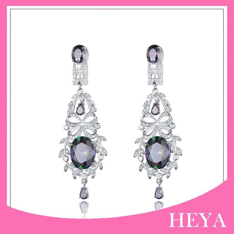 大氣典雅設計 華麗舞會耳環 宴會高貴耳墜 925銀鑲寶石耳飾