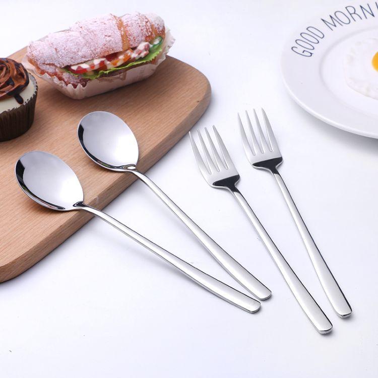 不锈钢勺子 304韩式勺 实心扁勺子 高档酒店餐具 弯柄 韩式勺