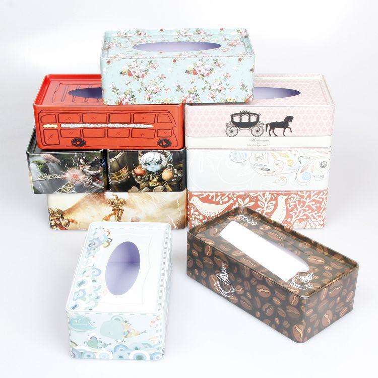 铁质100抽纸巾盒 铁皮抽纸盒 收纳盒 咖啡厅loft软装饰 铁盒MM