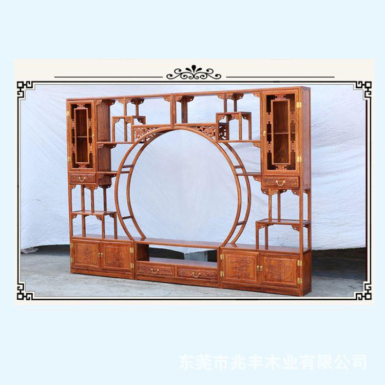 国标红木博古架 红木客厅电视博古架 可定制尺寸博古架