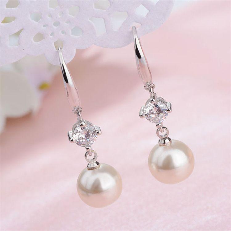 大气百搭饰品简约时尚 珍珠挂钩式耳环耳勾女