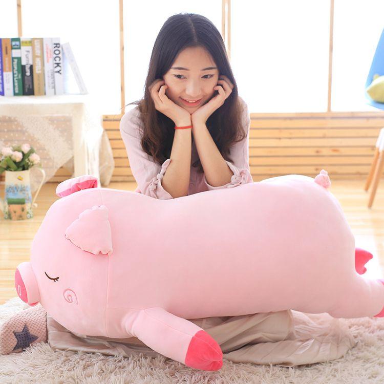 软体羽绒棉可爱趴趴猪毛绒玩具粉色小猪公仔长抱枕女生日礼物定制