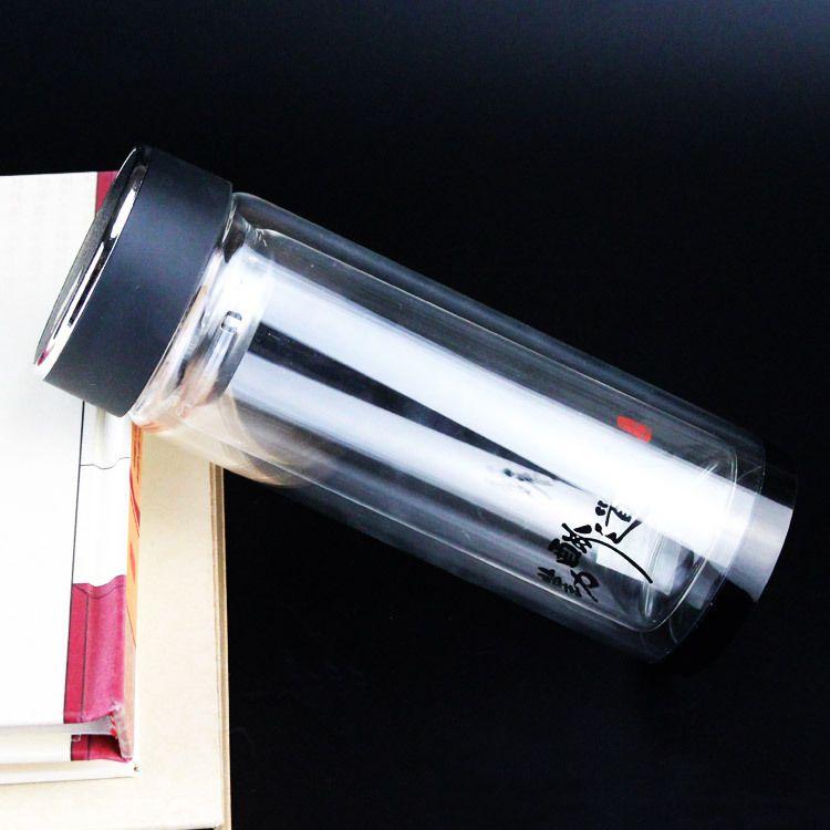 定制双层玻璃杯 可定制logo加厚水晶底商务礼品 礼品