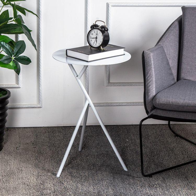 臻灏 现代创意铁艺茶几 客厅沙发边几角几金色小圆桌小边桌包邮