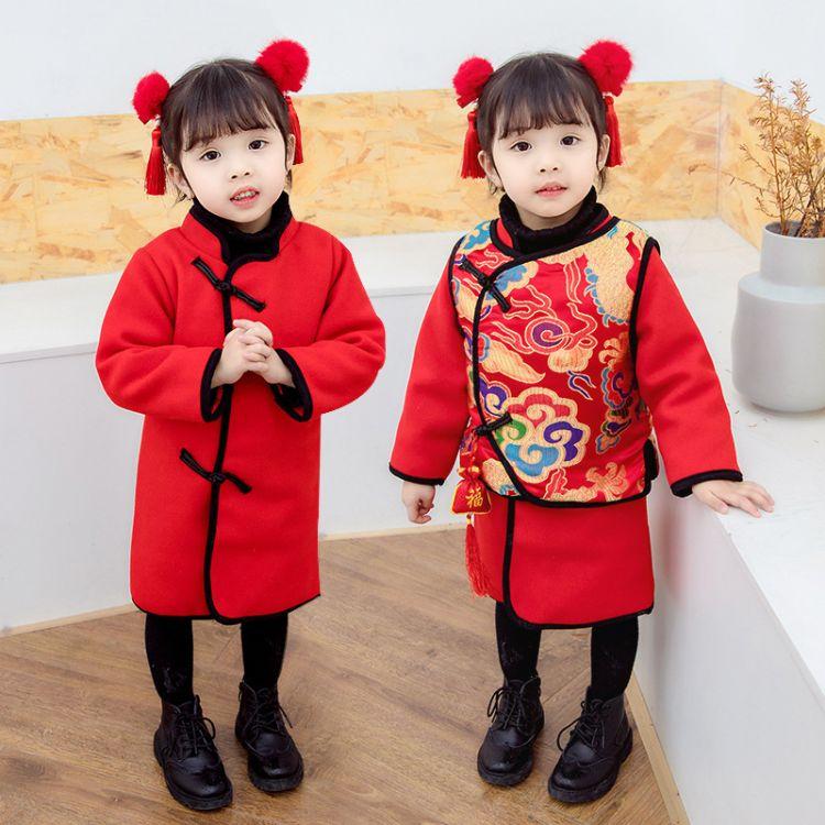 中国风童装2018男童唐装儿童古装拜年服女童加厚汉服民族风过年服