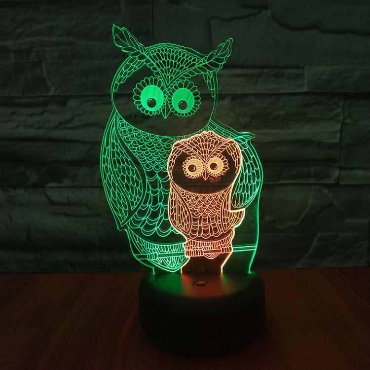 新款母子猫头鹰LED3D小夜灯视觉创意七彩遥控触摸USB立体灯礼品灯