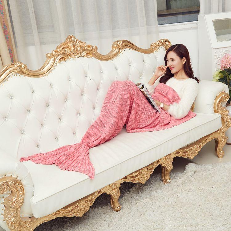 美人鱼毯子人鱼尾巴针织毛毯桂花针仿羊绒线毯 厂家定制 批发