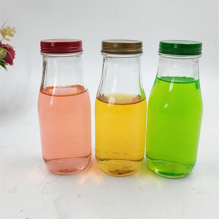 批发供应全丝玻璃奶瓶300ml饮料瓶密封玻璃瓶鲜榨果汁瓶LOGO定制