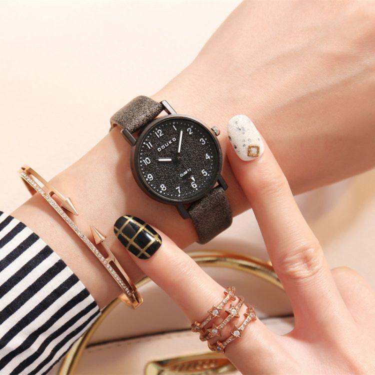 韩版简约数字刻度文艺复古学院石头纹皮带时尚女表学生情侣款手表
