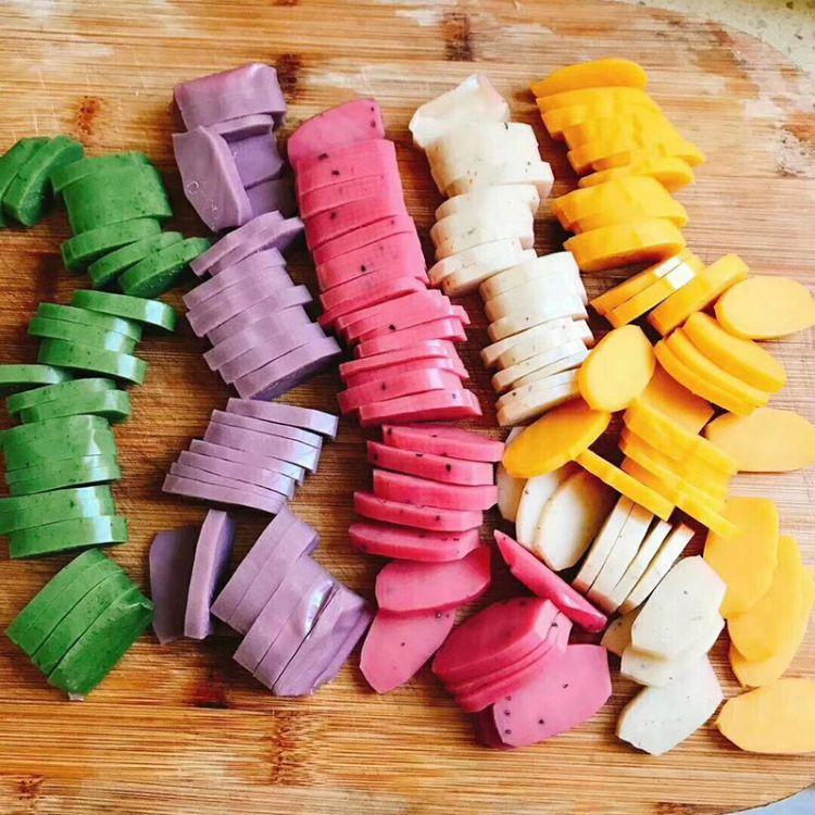 五彩年糕 彩虹果蔬年糕 艾青紫薯火龙果南瓜桂花五色年糕条700g