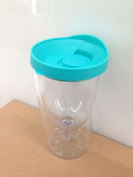 厂家直销双层塑料红酒杯啤酒杯 杯中杯太空杯AS塑料杯