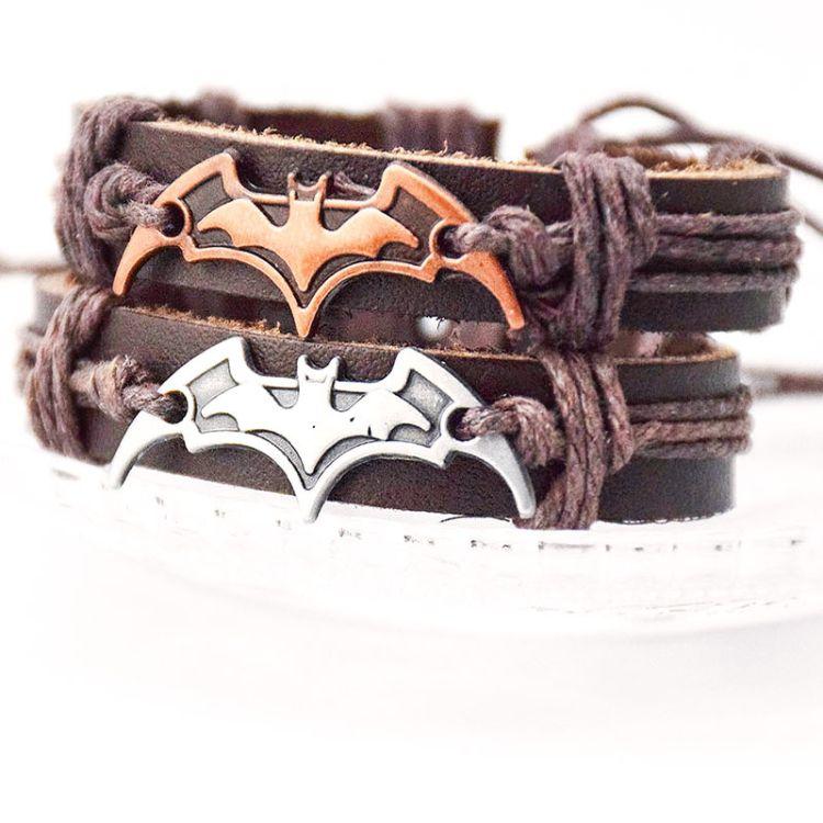 新款手链 垮境外贸出口产品 蝙蝠造型牛皮手饰批发好莱坞影视饰品