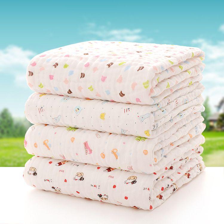 纯棉儿童浴巾 婴幼儿抱被 高密度水洗泡泡纱布童被 新生儿盖毯