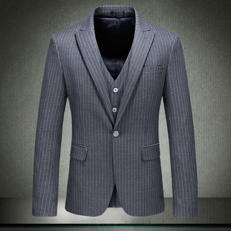 男士休闲商务西服时尚单西男式西装一粒扣条纹修身小西服一件代发