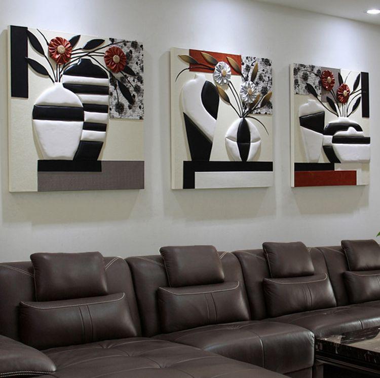 沙发背景墙装饰画客厅三联无框画立体皮画浮雕画卧室壁画平安挂画