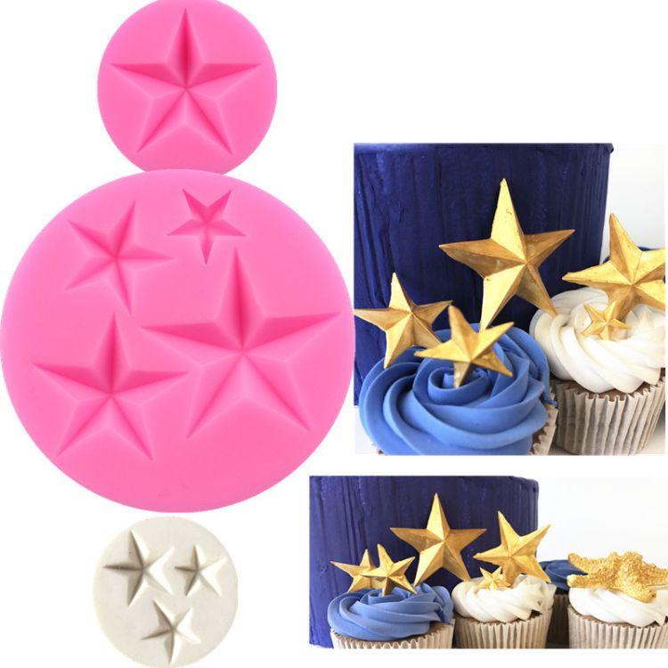 翻糖模具 五角星蛋糕硅胶模具 巧克力翻糖模 蛋糕装饰蛋糕模