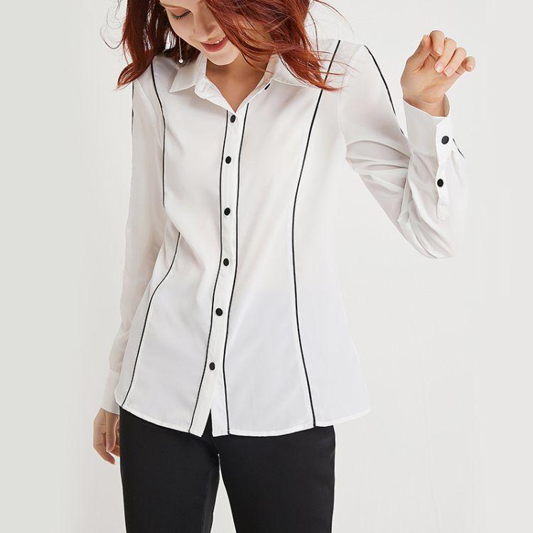 哈米2019春季新款女装欧美时尚气质白衬衫双绉长袖上衣百搭开衫女