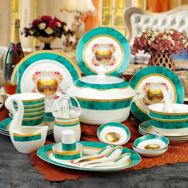 批发景德镇陶瓷器60头中式骨瓷餐具碗碟盘套装乔迁婚庆送礼品盒