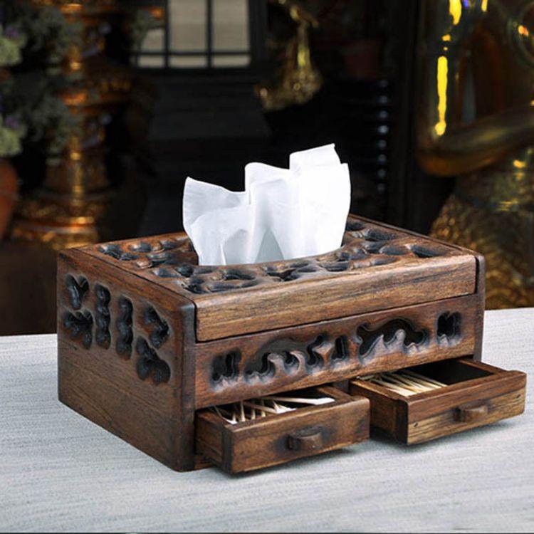东南亚酒店会所用品 木质多功能收纳纸巾盒抽纸盒餐巾纸盒101295