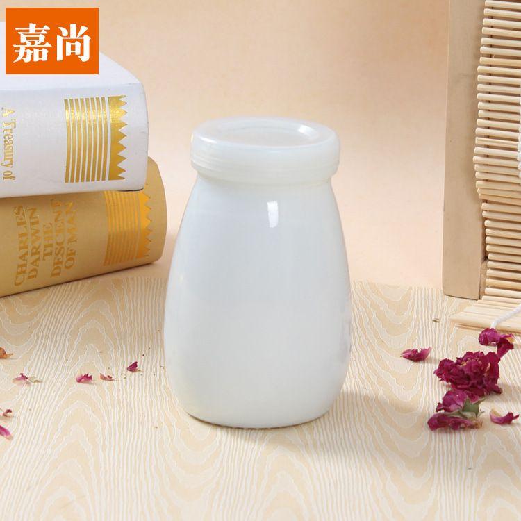 厂家直销乳白料玻璃酸奶瓶老酸奶玻璃瓶鲜奶玻璃瓶可定制老酸奶瓶