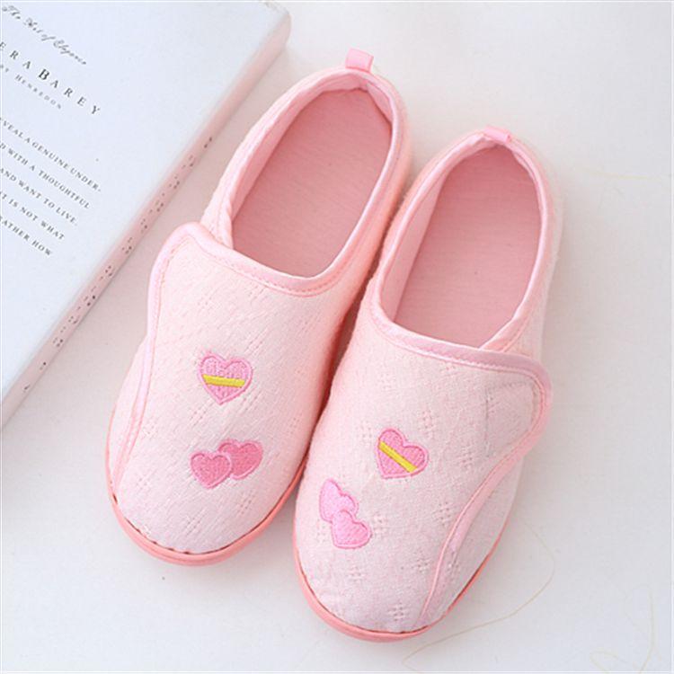月子鞋批发春秋双拼爱心母子扣孕妇鞋薄底小码防水防滑夏季产后鞋