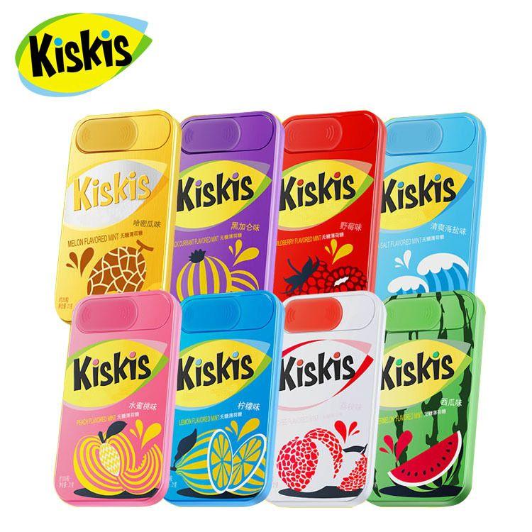 酷滋KisKis无糖薄荷糖21g35粒铁盒装清凉糖不用吐的口香糖零食糖