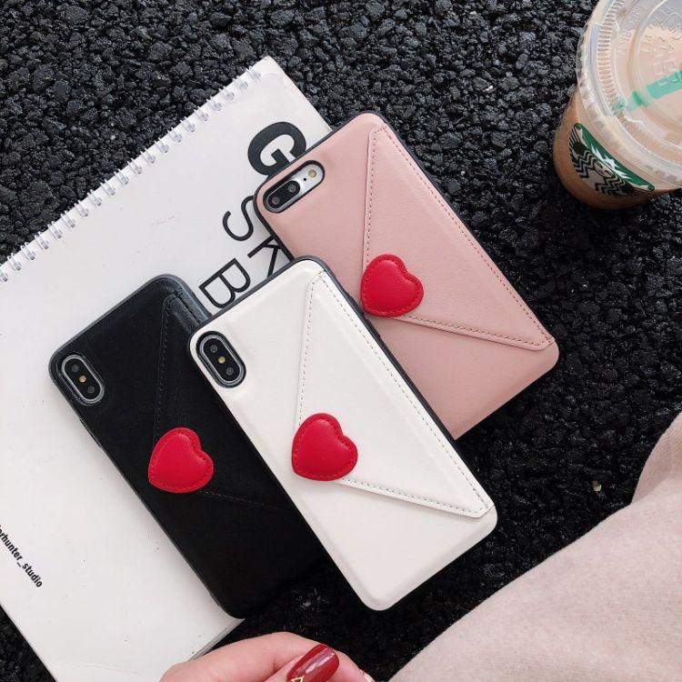 iPhoneXS max簡約日韓愛心卡包PU手機殼適用蘋果678 plus XR皮套
