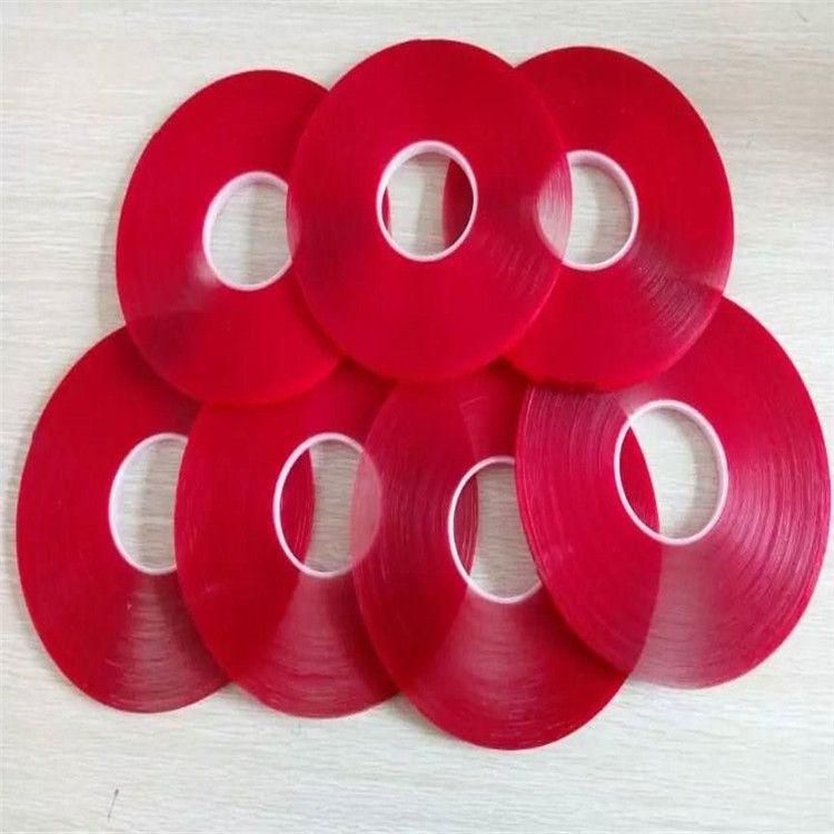 红膜透明亚克力胶带强力无痕防水双面胶带强粘耐高温胶带