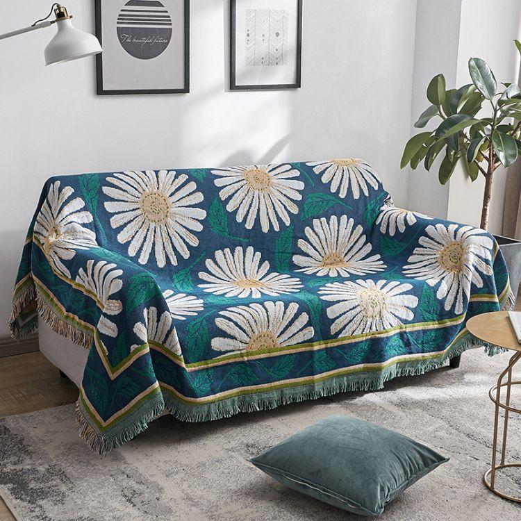 田园美式沙发巾全盖布艺沙发罩棉线毯单双三人组合沙发防滑垫盖巾