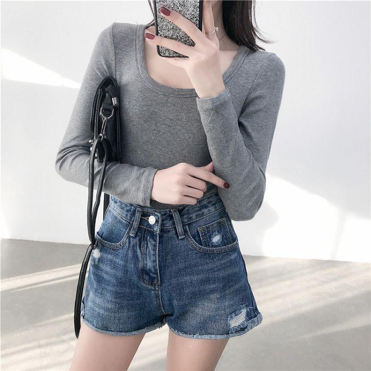 [微卷边]2019春季新款时尚破洞牛仔短裤女