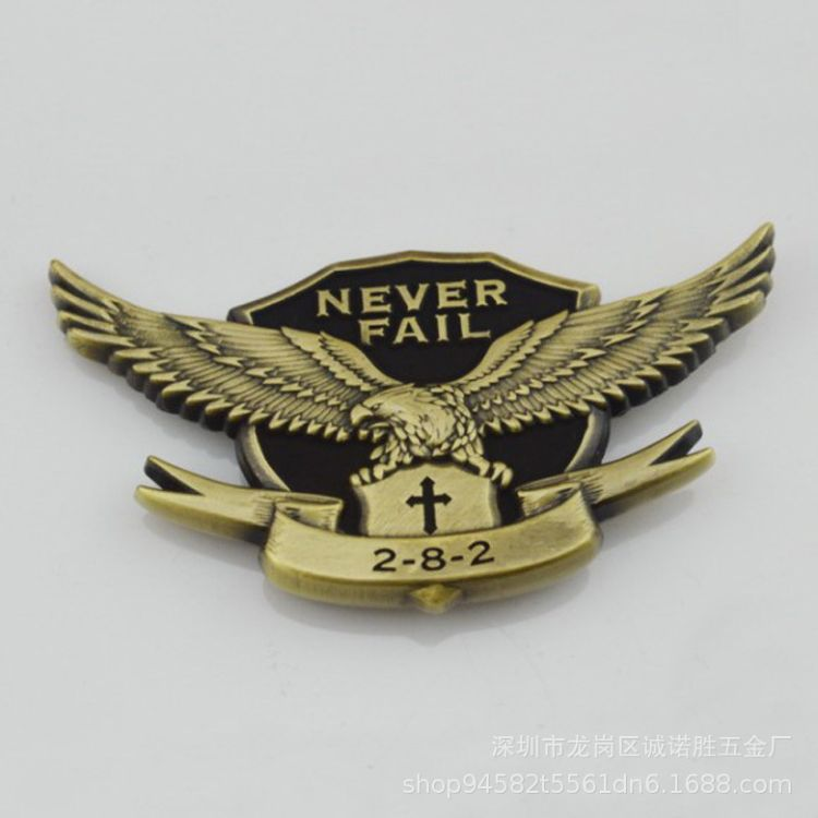 厂家专业定制金属徽章 公司企业鹰标志金属电镀烤漆胸章来样定做