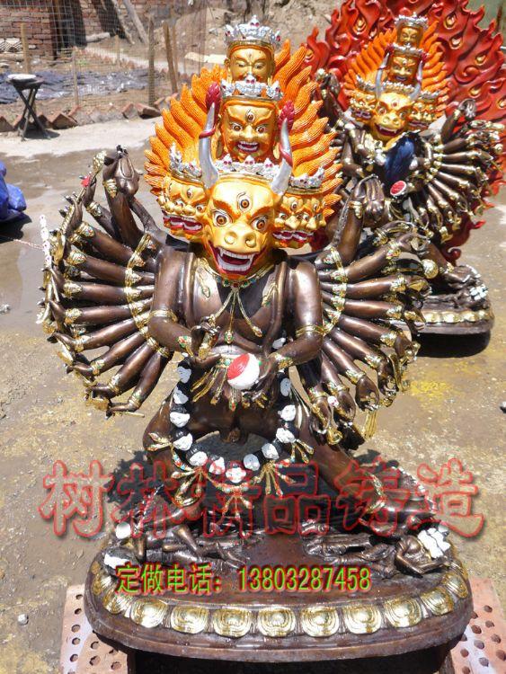 大威德明王 彩绘大威德金�� 铜佛像铸造厂