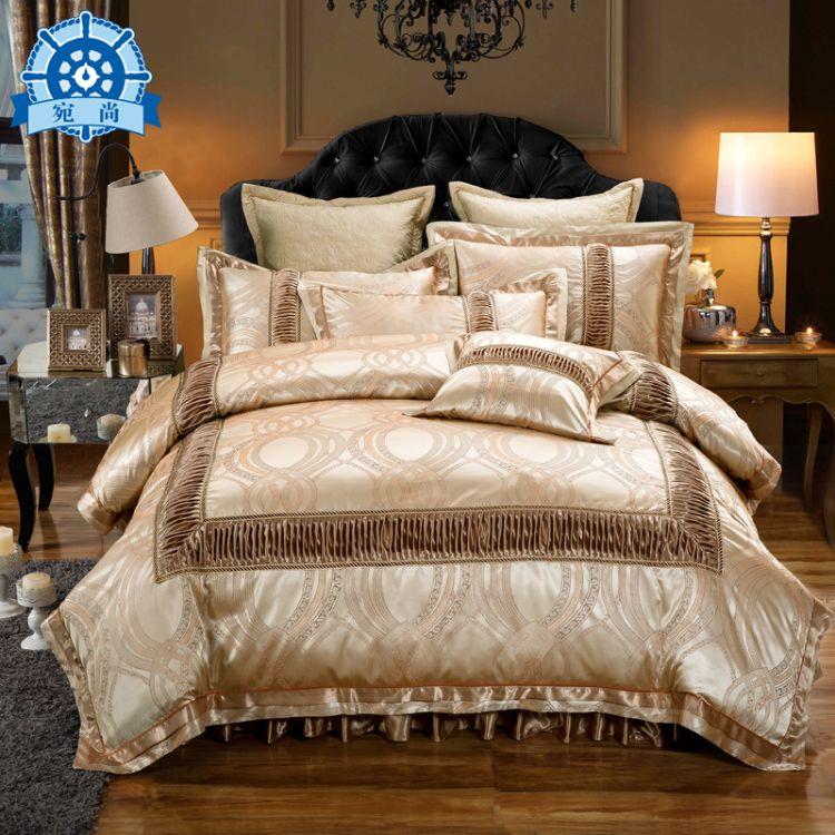 欧式全棉贡缎提花婚庆四件套纯棉1.8m床罩床裙式夹棉床笠床上用品
