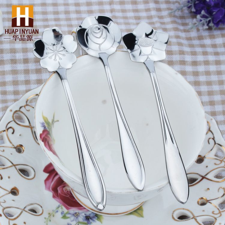 闪电批304玫瑰花樱花勺日本餐具不锈钢勺子咖啡勺搅拌勺