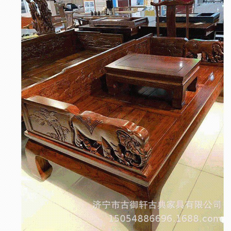 厂家热销老榆木罗汉床 实木罗汉床古典中式象头罗汉床可定制