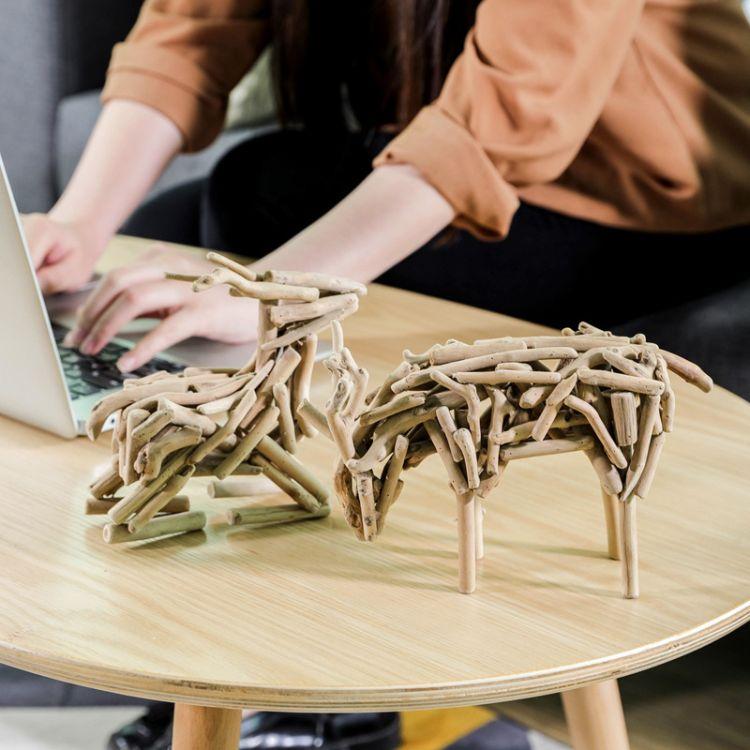 漂流木 创意木质摆件小鹿木工艺原创工艺品装饰礼品定制