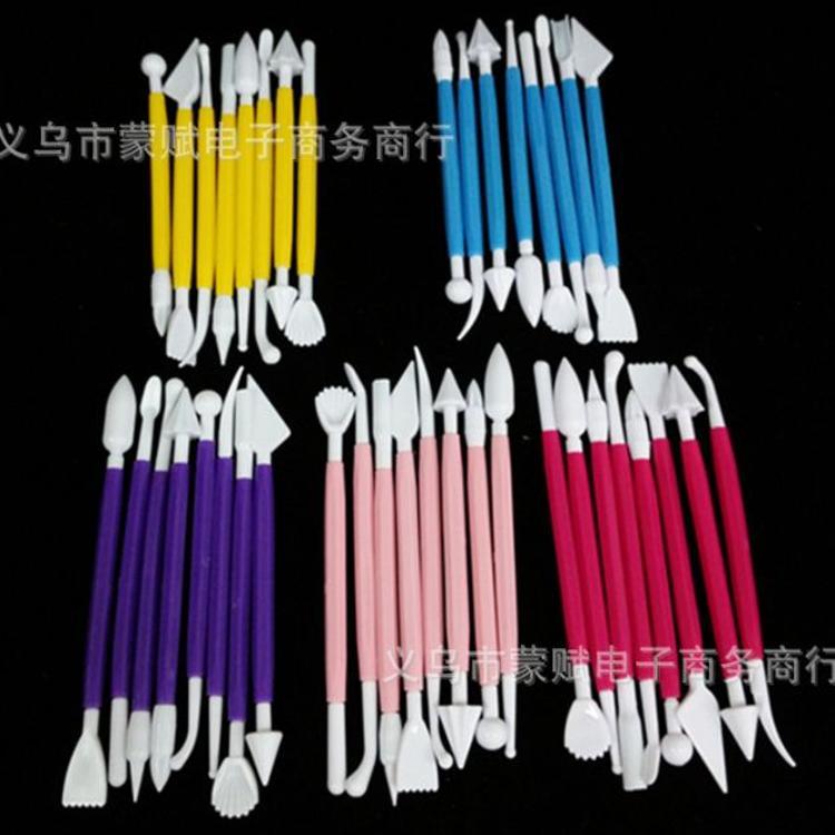 翻糖雕刻组工具套装 可拆塑性修饰笔8件套16头雕花刀 烘焙装饰模