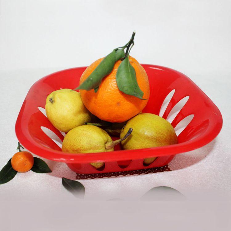 厂家直销客厅干果盘创意糖果色塑料果盘红色方形零食水果篮