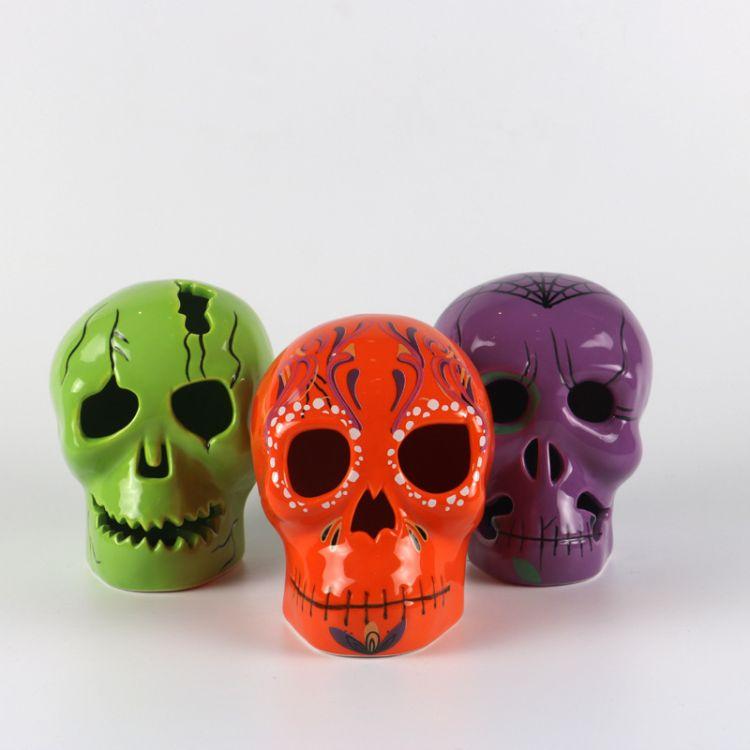 供应工艺品丨万圣节工艺品丨陶瓷工艺品丨骷髅头摆件 定制工艺品