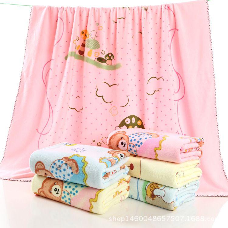 方形超细纤维卡通婴儿抱被加厚宝宝盖被吸水游泳馆用儿童浴巾浴毯