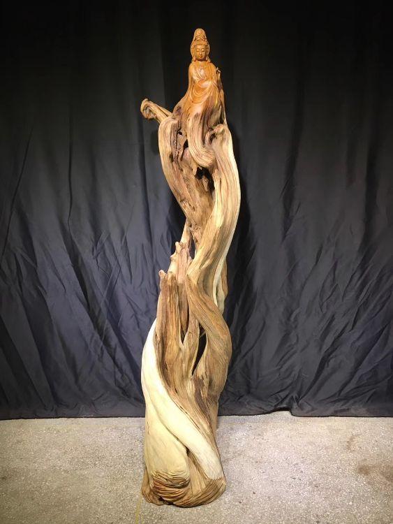 崖柏 观音 崖柏根雕木雕纯手工木制工艺品文玩摆件定制 家居摆件