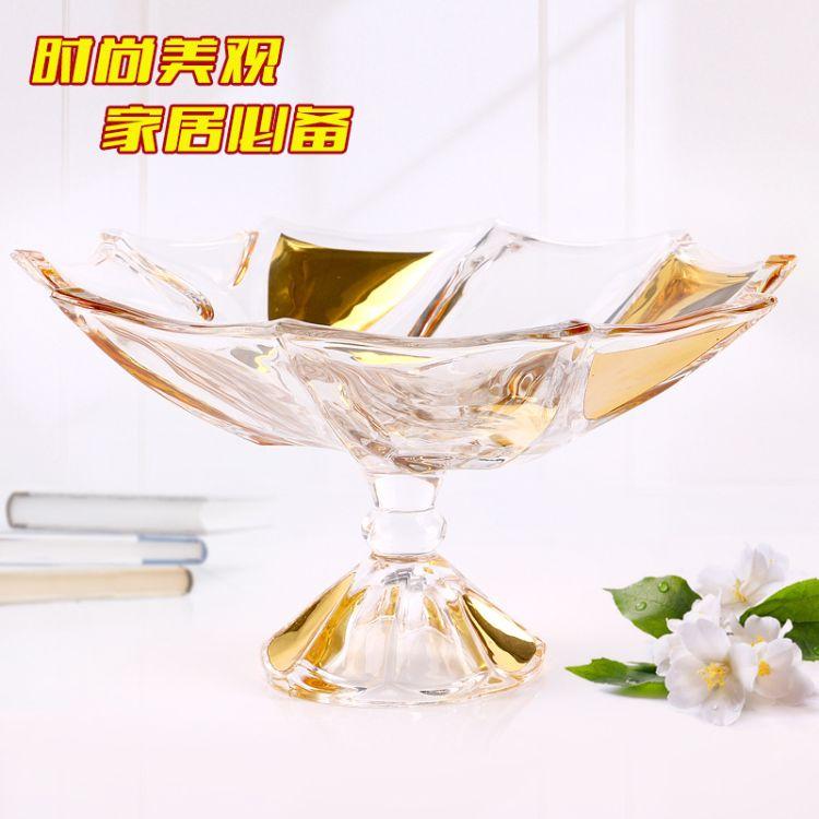 爆款热销太空玻璃果盘 创意高脚水晶玻璃果盘  时尚家居玻璃果盘