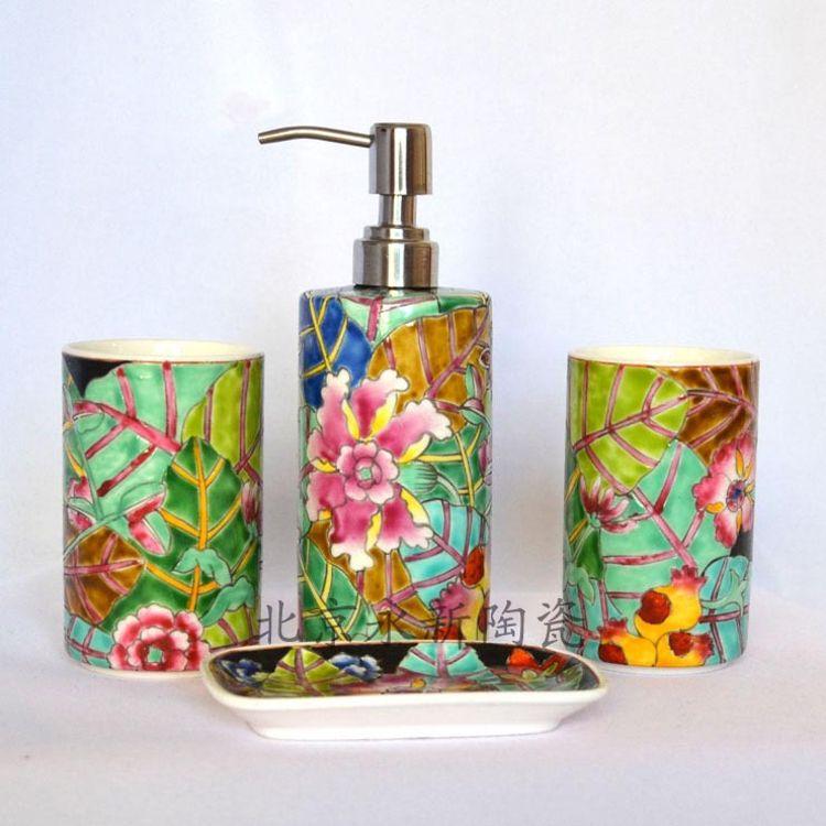 特色卫浴用品 酒店客房卫浴套件 陶瓷四件套/陶瓷牙杯洗手瓶皂盘