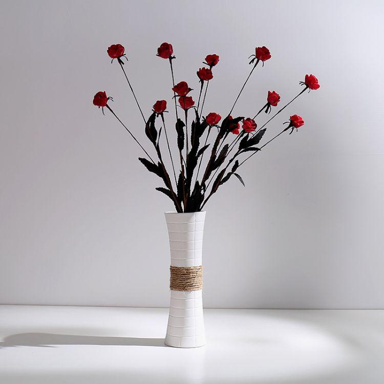 厂家直销白色素烧陶瓷花瓶 简约现代家居创意摆件 白色麻绳花瓶