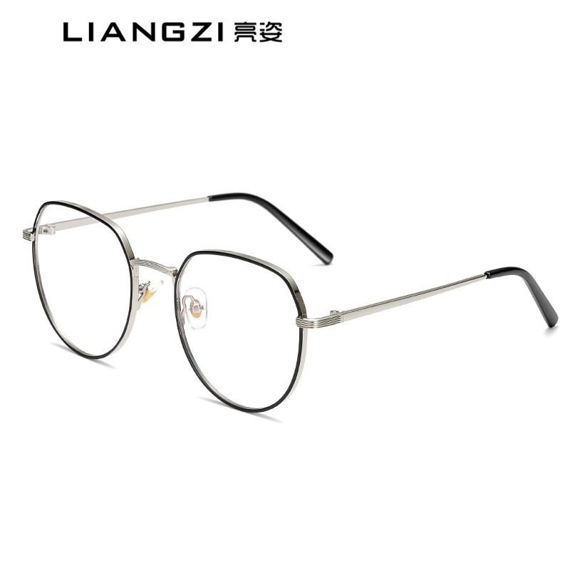 男士復古文藝防藍光眼鏡金屬框架眼鏡方形平光鏡近視眼鏡一件代發