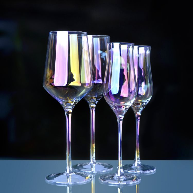 彩虹高脚杯 渐变色七彩香槟酒杯日本梦幻水晶玻璃红酒杯装饰杯子