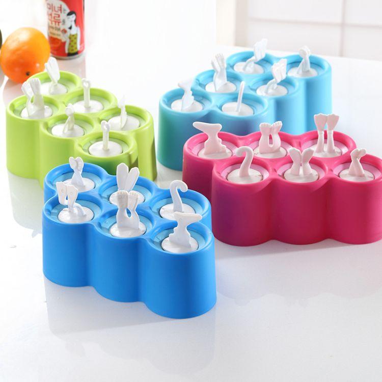 创意家用冰格制冰盒卡通雪糕模具棒冰模具硅胶冰盒六只装厂家直销