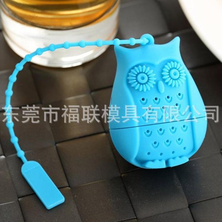 茶具新品硅胶猫头鹰泡茶器 创意猫头鹰茶漏滤茶器 硅胶猫头鹰茶包
